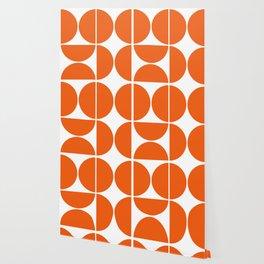 Mid Century Modern Orange Square Wallpaper