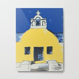 Yellow Chapel of Santorini Metal Print