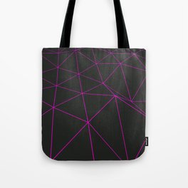 Dark low poly displaced surface with glowing lines Tote Bag