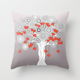 tree of love with mandalas Throw Pillow