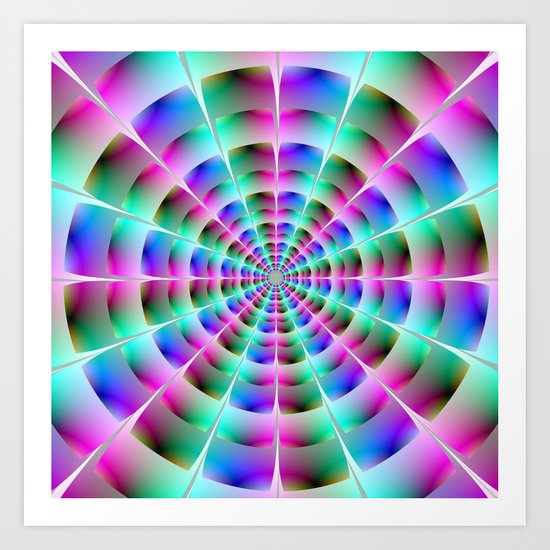 Time Tunnel in Blue and Pink Art Print