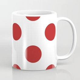 Large Polka Dots - Firebrick Red on White Coffee Mug