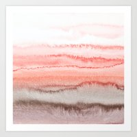 coral Art Prints featuring WITHIN THE TIDES CORAL DAWN by Monika Strigel