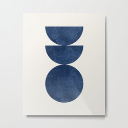 Woodblock navy blue Mid century modern Metal Print