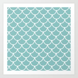 Chalky Blue Fish Scales Pattern Art Print