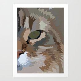 Geometric Fierce Cat Digitally Created Art Print