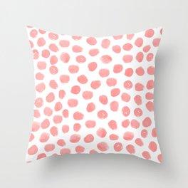 Natalia - abstract dot painting dots polka dot minimal modern gender neutral art decor Throw Pillow