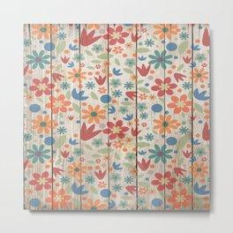 Farmhouse Floral Faux Wood Metal Print