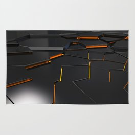 Black fractured surface with orange glowing lines Rug