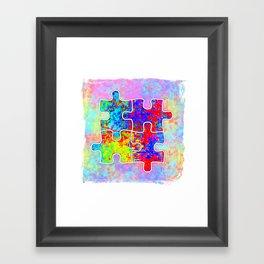 Autism Colorful Puzzle Pieces Framed Art Print