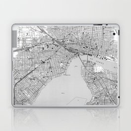 Vintage Map of Jacksonville Florida (1950) BW Laptop & iPad Skin