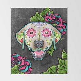 Labrador Retriever - Yellow Lab - Day of the Dead Sugar Skull Dog Throw Blanket