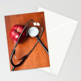 Stethoscope and apple Stationery Cards