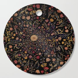 Medieval Flowers on Black Cutting Board