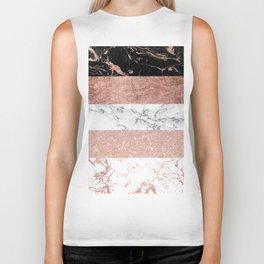 Modern chic color block rose gold marble stripes pattern Biker Tank