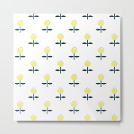 Simple yellow flower pattern Metal Print
