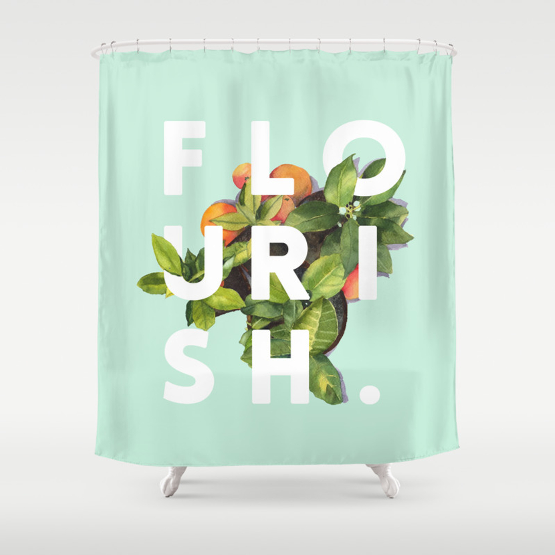 typography shower curtains society6. Black Bedroom Furniture Sets. Home Design Ideas