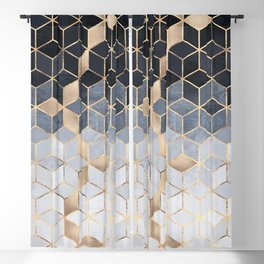 Soft Blue Gradient Cubes Blackout Curtain