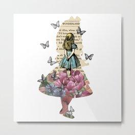 Alice In Wonderland Magical Garden - Vintage Book Metal Print
