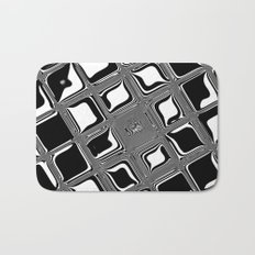 Black and white abstract design with fancy squared patterns on grey Bath Mat