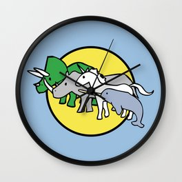 Horned Warrior Friends (unicorn, narwhal, triceratops, rhino) Wall Clock
