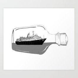 Ship in a Bottle Vintage Art Print