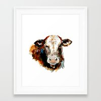 craftberrybush Framed Art Prints featuring  Cow watercolor by craftberrybush