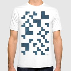 Blue tiles White MEDIUM Mens Fitted Tee