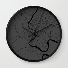 Bangkok Thailand Minimal Street Map - Gray and Black Wall Clock