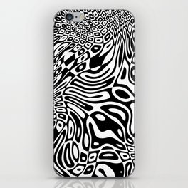 Black  and white psychedelic optical illusion iPhone Skin