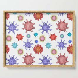 Different kinds of viruses (pattern) Serving Tray