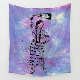Idle No More  (Cree jingle dancer with feather fan) Wall Tapestry
