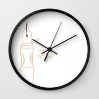 pen Wall Clocks featuring Pen by Jack Lane