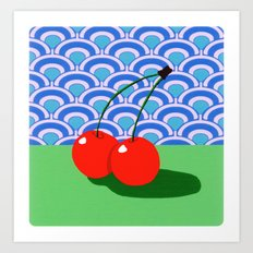 Fruit with Wallpaper (cherry) Art Print