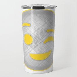 Emoji Winky face in gray and yellow Travel Mug