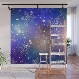 Christmas Shiny Snowflake Background Wall Mural