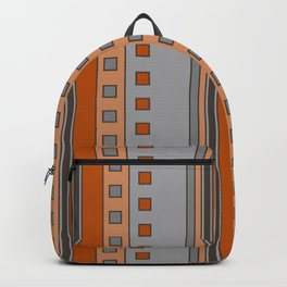 Squares and Stripes in Terracotta and Gray Backpack