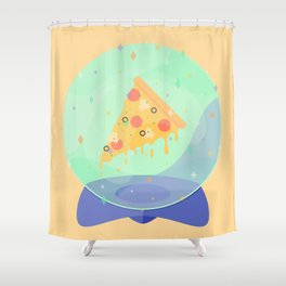 The Future is Pizza Shower Curtain