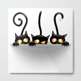 Three Naughty Playful Kitties Metal Print