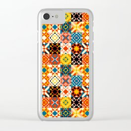 Maroccan tiles pattern with red an blue no2 Clear iPhone Case