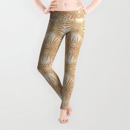 Boho Abstract Shapes in Camel / '70s Mood Leggings