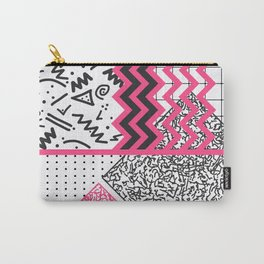 Retro 80's 90's Neon Pink Black White Scribbles Carry-All Pouch