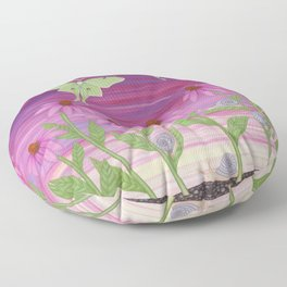 echinacea daydream with luna moths and snails Floor Pillow