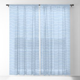 Light Blue (Lighter) with White Squiggly Lines Sheer Curtain