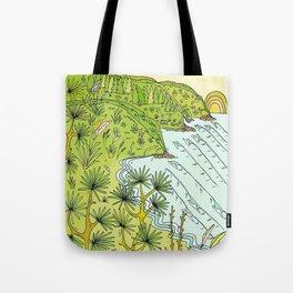 pointbreaks in paradise // lookout in raglan new zealand // retro surf art by surfy birdy Tote Bag