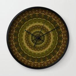 Green Mold Mandala 1 Wall Clock