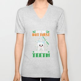 kiss me but first brush your teeth Unisex V-Neck