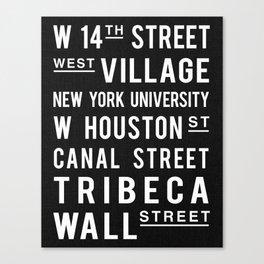 New York City Subway Print NYC Art Vintage Art Old Sign Print Black and White Wall St Tribeca Canvas Print