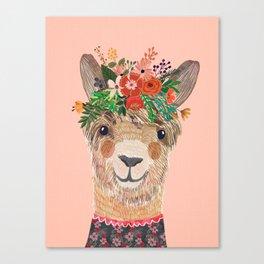 Llama with Flower Crown by Mia Charro Canvas Print