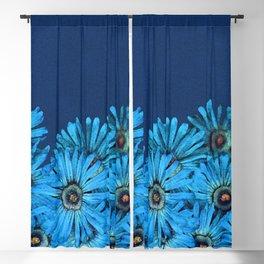 Turquoise Succulent Flowers Blackout Curtain
